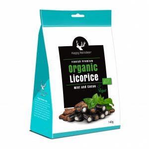Kamellebuedchen Shop Lakritz Fudge Schokolade Makulaku Happy Reindeer Bio Lakritze Mint Cacao Tüte