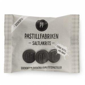 Kamellebuedchen Shop Lakritz Fudge Schokolade Pastillfabriken Saltlakrits_Salzlakritz Tüte