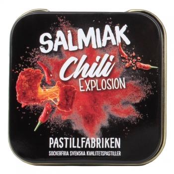 Kamellebuedchen Shop Lakritz Fudge Schokolade Pastillfabriken Salmiak Chili Explosion Metalldose
