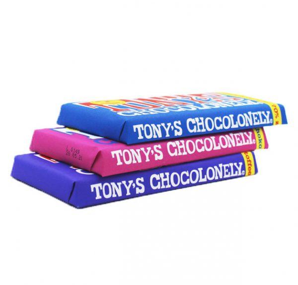 Kamellebuedchen Shop Lakritz Fudge Schokolade Tony's Chocolonly 3er-Set Trio geschlossen gestapelt