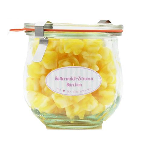 Kamellebuedchen Shop Weingummi Süßes Weingummi Buttermilch Zitronen Baerchen