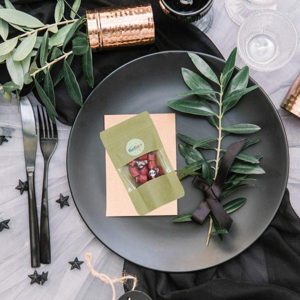 Kamellebuedchen Shop Handgemachte Bonbons Personalisierte Bonbons Dekobeispiel Tisch DP