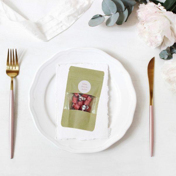 Kamellebuedchen Shop Handgemachte Bonbons Personalisierte Bonbons Dekobeispiel Tisch DP klein