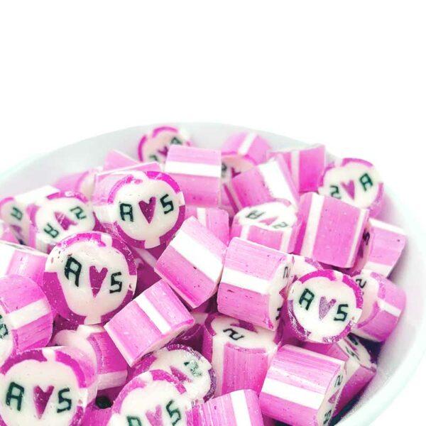 Kamellebuedchen Shop Handgemachte Bonbons Personalisierte Bonbons Rosagestreifter Mantel Bulk