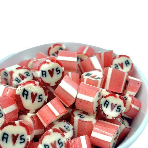Kamellebuedchen Shop Handgemachte Bonbons Personalisierte Bonbons Rot gestreift Bulk
