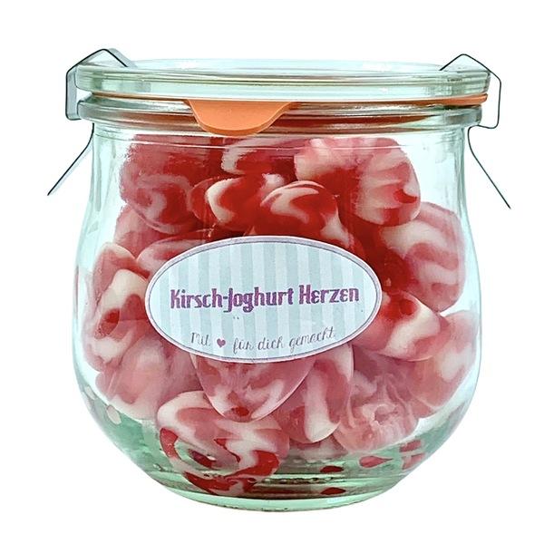 Kamellebuedchen Shop Weingummi Süße Weingummi Kirsch Joghurt Herzen Glas