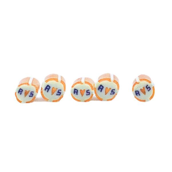 Kamellebuedchen Shop Handgemachte Bonbons Personalisierte Bonbons Orange gestreift Reihe