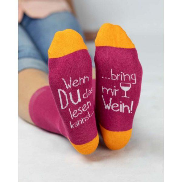 Kamellebuedchen Shop Textiles Grafik Werkstatt Socken Wenn du Damen Tragebild