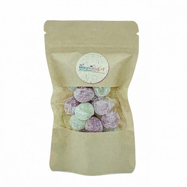 Kamellebuedchen-Shop-Handgemachte-Bonbons_Zuckerfreie Bonbons-Himbeere-Waldmeister-Kugeln-Doypack