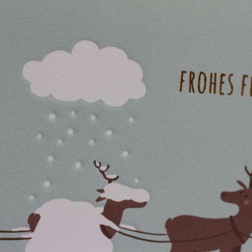 Kamellebuedchen Shop Grußkarten Weihnachten Klappkarte Rentiere Frohes Fest Details Prägung