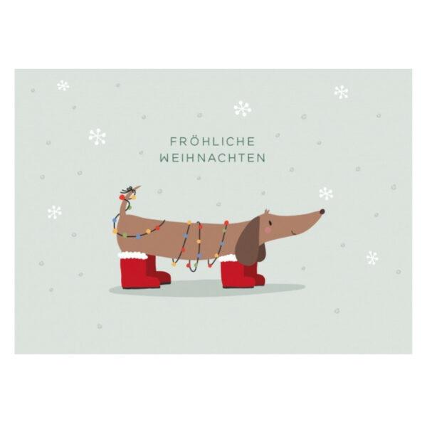 Kamellebuedchen Shop Grusskarten Weihnachten Postkarte Dackel Froehliche Weihnachten