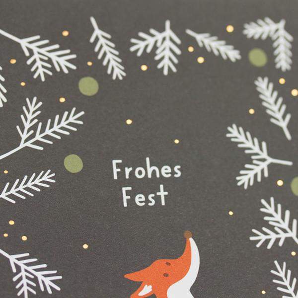 Kamellebuedchen Shop Grußkarten Weihnachtskarte Weihnachten Postkarte Fuchs Frohes Fest Details