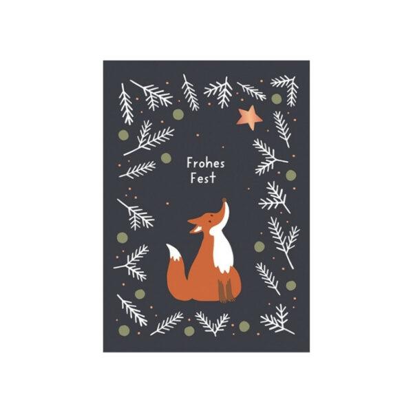 Kamellebuedchen Shop Grußkarten Weihnachten Postkarte Fuchs Frohes Fest Neu