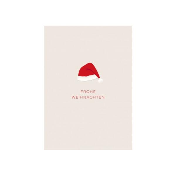 Kamellebuedchen Shop Grußkarten Weihnachten Postkarte Weihnachtsmannmütze Frohe Weihnachten Neu